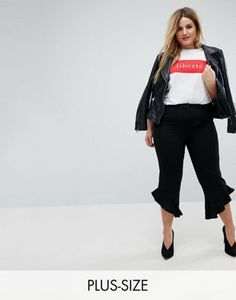 16fefad57bc Black frill hem straight leg cropped trousers. See more. Discover Fashion  Online Plus Size Womens Clothing