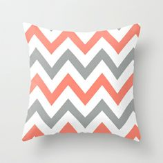 Coral Grey Chevron Throw Pillow by nataliesales 2000 living room Coral Chevron, Mint Coral, Purple Teal, Pink Yellow, Aqua, New Living Room, My New Room, My Room, Chevron Throw Pillows