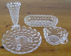 Vintage Fostoria American Clear Glass 4 PC Set-Bud Vase-Olive Dish-Nappy Bowl-Plate