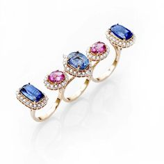 A multi-finger kyanite, rubellite and diamond Farah Khan ring in yellow gold from the new Le Jardin Exotique summer jewellery collection.
