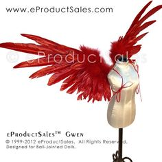 eProductSales red Feather Angel GWEN Wings for Ball-Jointed Dolls, these BJD Wings are available several colors! Feather Angel Wings, Red Feather, Wicked Good, Goblin King, Strange Things, Bjd Dolls, Ball Jointed Dolls, Demons, Claws