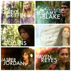 #The 100 #CW - Awesome characters - Clarke Griffin (Eliza Taylor), Bellamy Blake (Bob Morley), Finn Collins (Thomas McDonell), Octavia Blake (Marie Avgeropoulos), Jasper Jordan (Devon Bostick), Raven Reyes (Lindsey Morgan)