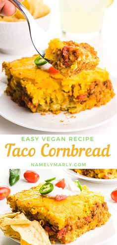 Looking for yummy comfort food? This quick and easy vegan Taco Cornbread is the way to go! Serve this tasty Mexican casserole with tortilla chips and salsa on the side! #tacocornbread #veganrecipes #namelymarly