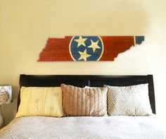 Tennessee State Flag Wooden Cut Out by 4DegreesCreatives on Etsy