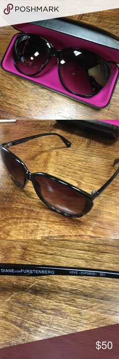 Diane Von Furstenberg Sunglasses Perfect condition. Never worn. I bought them and don't care for the way that look in my shape face. They come with the box and a cleaning towel. They are not polarized and have a lovely faded rose lens. Cross posted Diane von Furstenberg Accessories Sunglasses