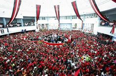 Incredible scenes: Piarco International Airport was mobbed with fans eager to welcome home Trinidad and Tobago's Olympic hero Keshorn Walcott - the javelin thrower won gold at the London games. Olympics 2012