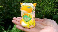 Fox in yellow dress. Ceramic Ocarina - wind musical instrument (whistle). Animals sculpture. Original art. by Jivizvuk on Etsy