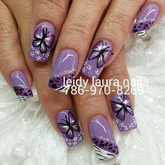 Butterfly - All For Hair Color Trending Purple Nail Art, Purple Nail Designs, Toe Nail Designs, Fabulous Nails, Gorgeous Nails, Winter Nails, Spring Nails, Fingernail Polish Designs, Summer Nails 2018