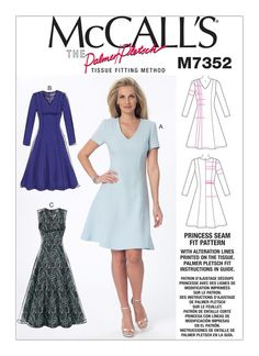 McCall's Sewing Pattern by Palmer Pletsch -  M7352 Jewel or V-Neck Fit & Flare Dresses … WeaverDee.com
