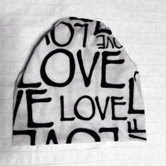 Baby slouchy beanie Black and White Love print on Etsy, $12.00 CAD