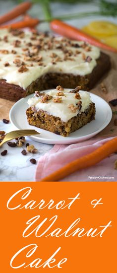 - The Easiest Carrot and Walnut Cake with a decadent cream cheese frosting. Easy … The Easiest Carrot and Walnut Cake with a decadent cream cheese frosting. Easy Cake Recipes, Best Dessert Recipes, Baking Recipes, Delicious Desserts, Nutella, Cake Bars, Velvet Cake, Cupcakes, Cupcake Cakes