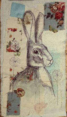 Www.facebook.com/bibliboo freemotion machine embroidery fabric paint hare vintage textiles by Emily Henson