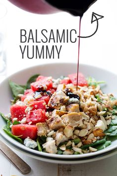Balsamic Watermelon Chicken Salad topped off with a simple balsamic reduction. YUM! | pinchofyum.com