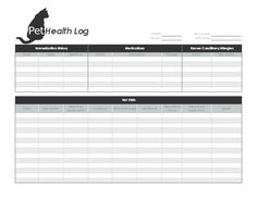 Pet care records for Pet health record template