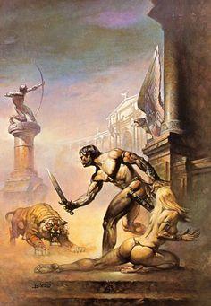 Cover art by Boris Vallejo for the novel 'I Am A Barbarian' by Edgar Rice Burroughs Boris Vallejo, Science Fiction Art, Pulp Fiction, Tarzan, Caricature, Robert E Howard, Julie Bell, Ace Books, Bell Art