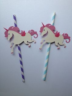 12 Unicorn Themed Party Straws by MiaSophias on Etsy, $16.99