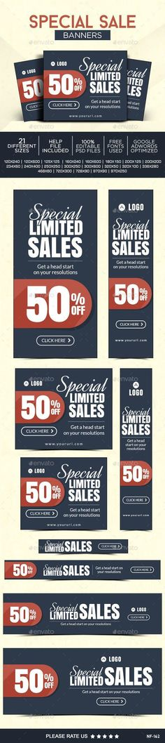 Buy Special Sale Banners by Hyov on GraphicRiver. Promote your Products and services related to holiday niche with this great looking Banner Set. Holiday Market, Sale Banner, Banner Template, Banner Design, Web Banners, Ads, Graphic Design, Templates, Promotion
