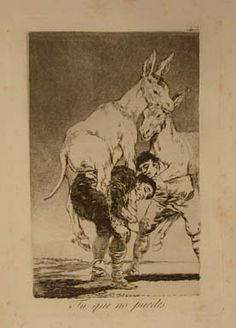 """Capricho 42: """"Tu que no puedes"""" (You who cannot) Two donkeys ride on the back of labourers bent double under the strain."""