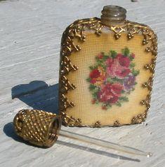 vtg austria glass perfume bottle petit point flower floral mini cologne case old