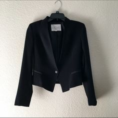 Rachel Roy Blazer Size 4, black semi-cropped blazer. Brand is Rachel Roy, high quality. Single button closure. Only worn once, measurements provided upon request RACHEL Rachel Roy Jackets & Coats Blazers