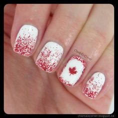 I'm so excited to show you my Canada Day nails because I'm… Glam Nails, Fancy Nails, Toe Nails, Gel Nail Designs, Cute Nail Designs, Nails Design, August Nails, Funky Fingers, Nail Art For Kids