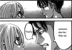 Finally, someone shorter than me, funny, text, quote, manga, comic, Levi, Petra; Attack on Titan