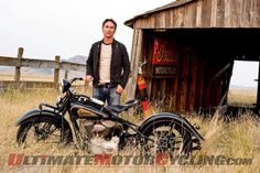 Mike Wolfe of American Pickers With an Indian motorcycle