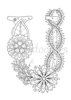 Adult Coloring Page Floral Letters Nursery Alphabet U Hand
