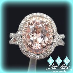 Morganite Engagement Ring 2.5ct Oval 14k White and Rose Gold Two Toned Diamond Halo by InTheIceBox on Etsy https://www.etsy.com/listing/234621579/morganite-engagement-ring-25ct-oval-14k