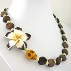 Sugar Skull Necklace Day of the Dead Brown White Yellow Hibiscus Flower