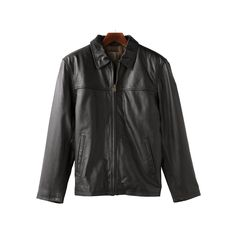 Men's R and O Open-Bottom Leather Bomber Jacket, Size: Medium, Black