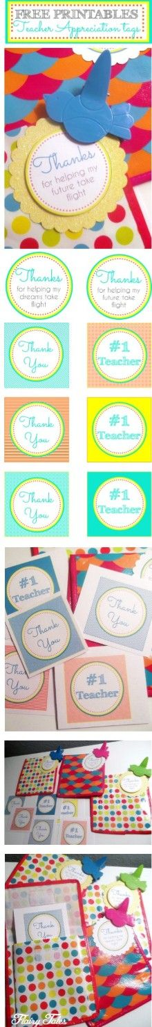 FREE printables for teacher appreciation!  These cute clips and bags were only a dollar at Target!!  www.flairytales.com