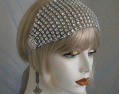 1920's Headpiece, Flapper Headband, Gatsby, Old Hollywood, Vintage style, Bohemian, Downton Abbey,  ribbon, Silver, Rhinestones,    no. 99