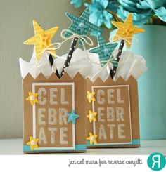 Birthday mini treat bags by Jen del Muro. Reverse Confetti stamp set: Big Notes. Confetti Cuts: Treat Tote, and You Are a Star. Quick Card Panels: All Heart. Twine. DIY birthday party favors, Birthday. Graduation.