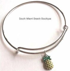 Silver Plated Pineapple Charm Bracelet Island Beach Tropical Hawaiian Adjustable #Unbranded #SlideSlider