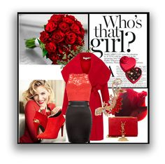 """""""Love Red!"""" by azraa-tursunovic ❤ liked on Polyvore featuring Keepsake the Label, AX Paris, Love Moschino, Yves Saint Laurent, Godiva, Diane James, women's clothing, women's fashion, women and female"""