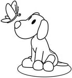Coloring pages print out Pocoyo Dog and Butterfly - Printable Coloring Pages For Kids Free Kids Coloring Pages, Colouring Pages, Printable Coloring Pages, Coloring Books, Cartoon Butterfly, Butterfly Coloring Page, Christmas Drawing, Cartoon Pics, Sewing For Kids