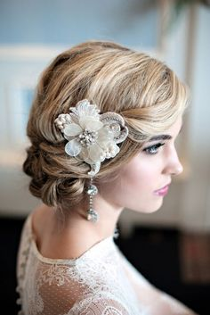 wedding updo hairstyle with vvintage pearl flower headpiece