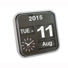Wall clock big flip silver/black – Clocks - ID Design Accessories - Decorations