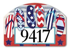 """Patriotic Flip Flops Address Sign by MagnetWorks. $15.95. Address plaques attach to metal Yard DeSigns Stake]:popup=http://www.flagsonastick.com/product/H100/. Magnetic address plaques measure 14"""" x 10"""".. Magnetic address signs  by Yard DeSigns are screen-printed and vinyl coated for vivid long-lasting color and are reuseable. Address signs include 2 sets of adhesive address house numbers. Yard DeSigns registered trademark of Magnet Works, Ltd."""