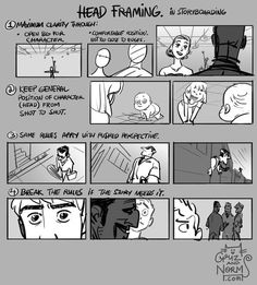 Griz and Norm Tuesday Tips - Head Framing (in storyboarding) Clarity is key when dealing with the head, especially the eyes when storyboarding. More to come on eye direction and framing (staging) in general. Norm # storyboard # tips Storyboard Drawing, Animation Storyboard, Animation Reference, Drawing Reference, Animation News, Pose Reference, Marvel Comics, Bd Comics, Drawing Techniques