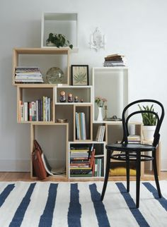 Muuto shelves with striped rug