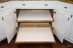 DIY Slide-Out Shelves | DIY pull-out shelf | How to make sliding shelf for kitchen cabinet | Step by step slide-out shelf tutorial | DIY cabinetry and woodworking | #DIY #kitchen #organization | TheNavagePatch.com #WoodworkingDIY