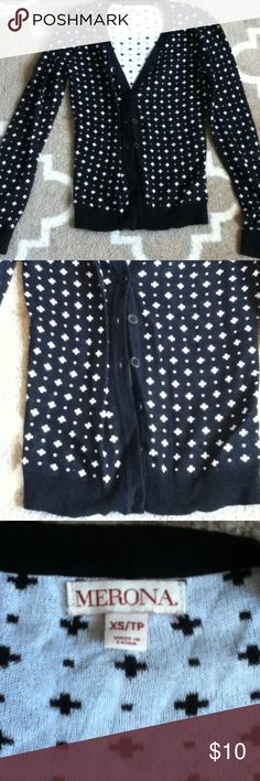 Black pattern cardigan Cute never worn cardigan, 6 button closure at bottom midway, plus sign and dot pattern all over. Merona Sweaters Cardigans