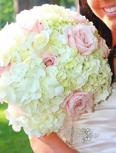Wedding bouquet. Hydrangeas and light pink roses.