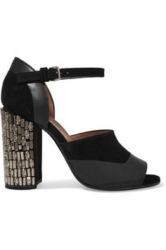 Marni - Embellished Suede And Leather Sandals - Black - IT39.5