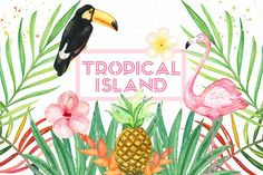Tropical island. watercolor clipart. by LABFcreations on @creativemarket