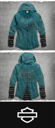 Perfect for a winter weekend getaway. | Harley-Davidson Women's Jacquard Accent Hooded Henley