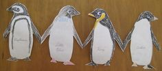 Penguin Craft and Lesson on Penguins - Layers of Learning list facts on their bellies. Penguin Party, Penguin Craft, Penguin Love, Paper Doll Chain, Paper Dolls, Baby Penguins, Found Art, Paper Snowflakes, Classroom Crafts