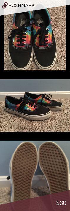 Black with tye dye lace up Vans! Comfortable with a splash of color! Great looking sneakers by Vans! Vans Shoes Sneakers